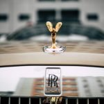 Rolls Royce Ghost 2020 Gold for rent super luxury car, front logo